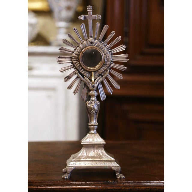"""19th Century French Silvered Bronze Catholic Monstrance """"Ostensoir"""" For Sale In Dallas - Image 6 of 12"""