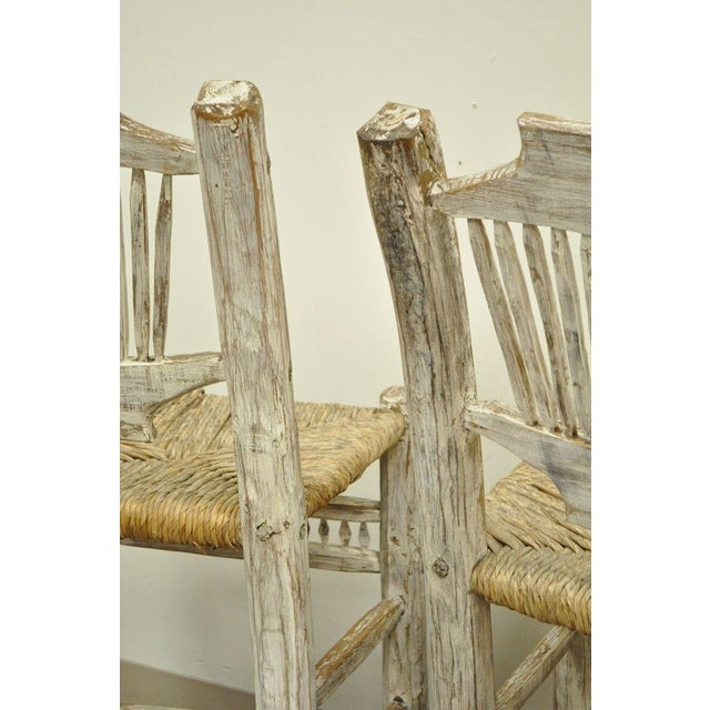 2 Rustic Country Log Cabin Wood Branch Rush Seat Bar Stools Chair Hickory Style For Sale In Philadelphia - Image 6 of 11