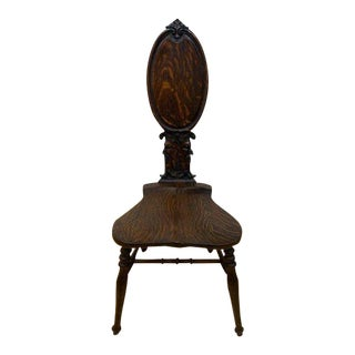 Antique 19th Century Hand Carved Solid Oak German Chair For Sale