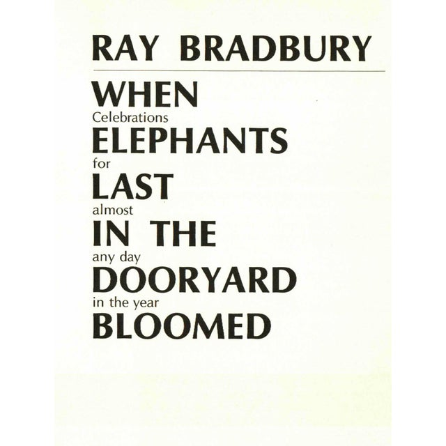 Traditional Elephants Last in the Dooryard Bloomed For Sale - Image 3 of 3