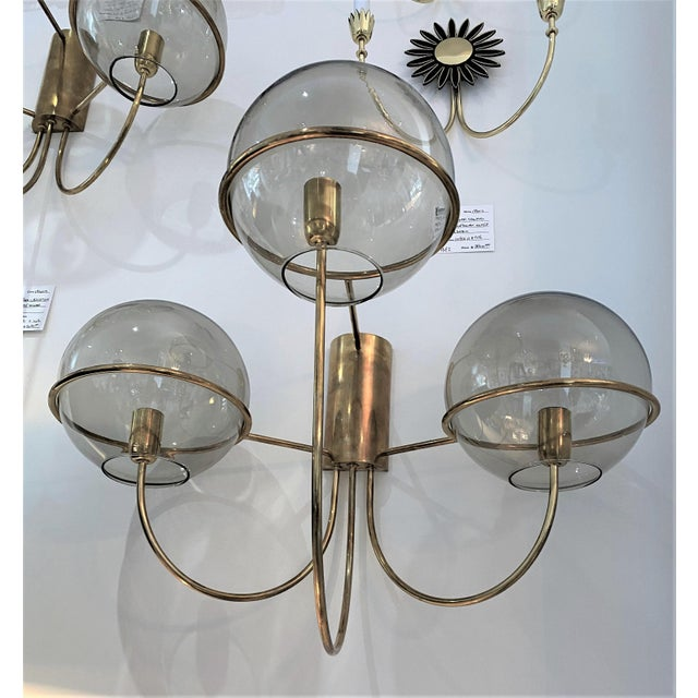 Mid-Century Modern Vico Magistretti Style Brass and Smoke Glass Sconces - a Pair For Sale - Image 10 of 12