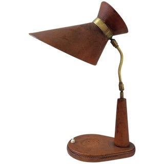 Jacques Adnet Style Leather Desk Lamp