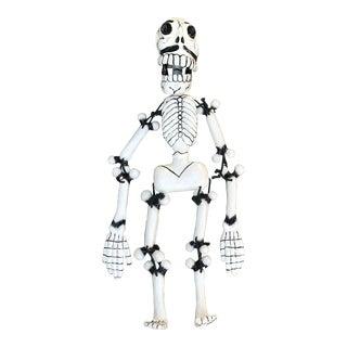 Handmade Paper Mache Skeleton Signed For Sale