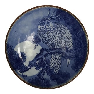 Chinese Blue & White Porcelain Parrot Plate