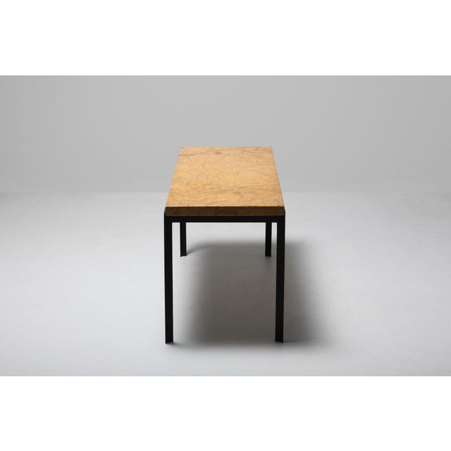 Mid-Century Modern Florence Knoll Marble & Black Steel Side Tables For Sale - Image 3 of 10