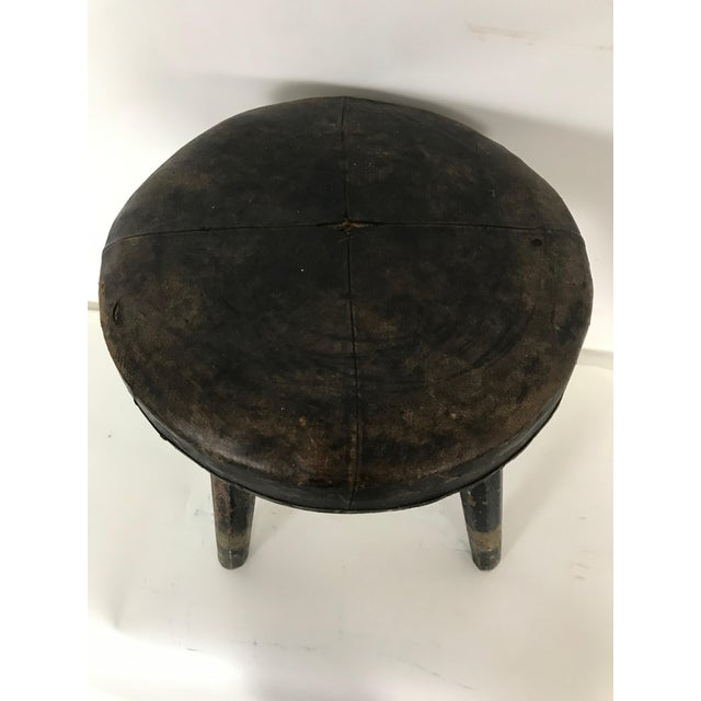 Early 20th Century Vintage Swedish Leather Topped Stool For Sale - Image 4 of 12