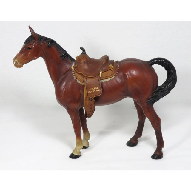 American 1930s Cast Iron Horse & Leather Saddle Doorstop For Sale - Image 3 of 12