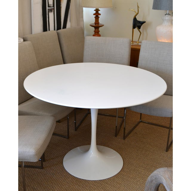 Original Eero Saarinen Round 42 inches Diameter Antique White Laminated Tulip Dining Table Knoll. The Top is 1.06 inches...