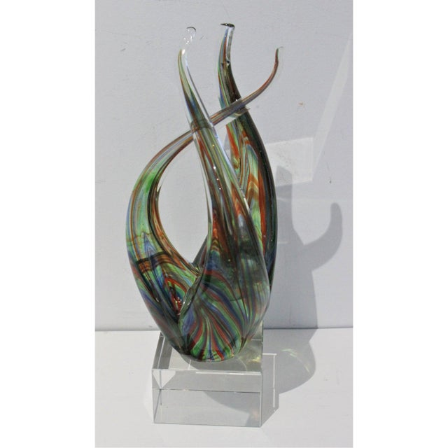 "Vintage Lucite Base ""Flame"" Sculpture Multicolored Glass Murano Style For Sale - Image 11 of 12"