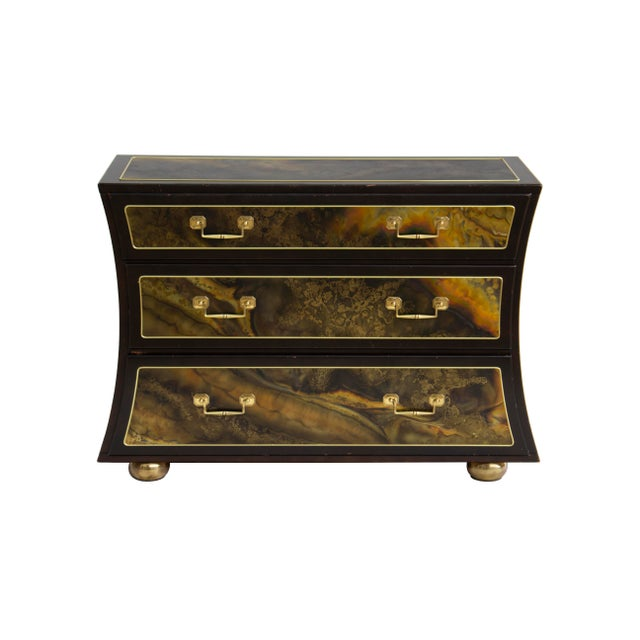 Asian Chest Dresser in Acid-Etched Brass by Bernhard Rohne for Mastercraft For Sale - Image 3 of 13