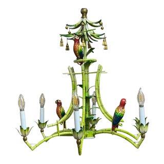 Tole Tropical Painted Parrot Chandelier For Sale
