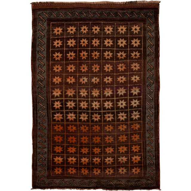 "Tribal Hand Knotted Area Rug - 4'10"" X 7'3"" For Sale"
