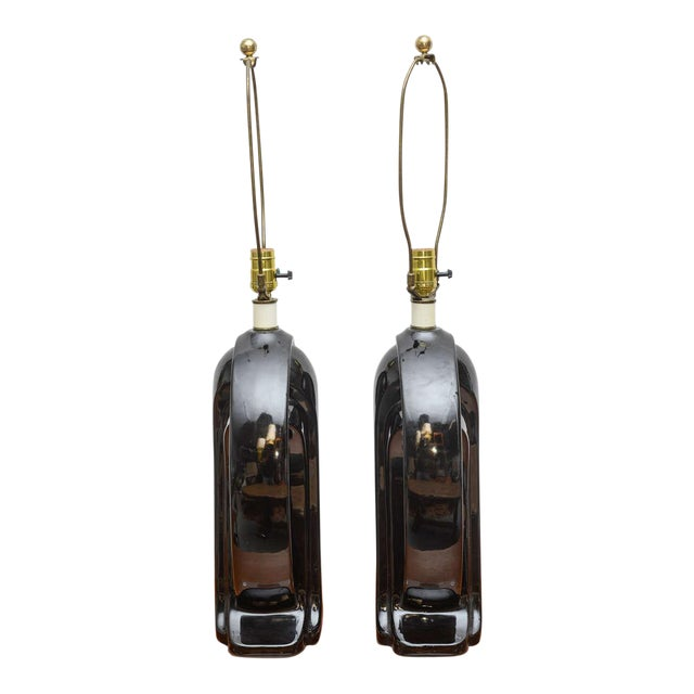 Ceramic and Lucite lamps, USA, 1950s For Sale