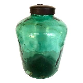 Blue Green Storage Jar With Metal Lid For Sale