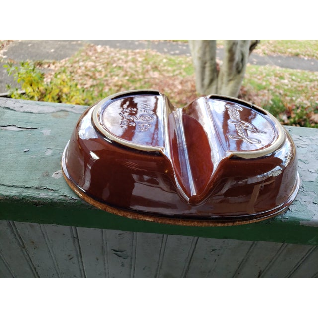 Vintage Hull Pottery&Co Oven Proof Brown Drip Oval Divided Bakeware Dish For Sale - Image 6 of 7