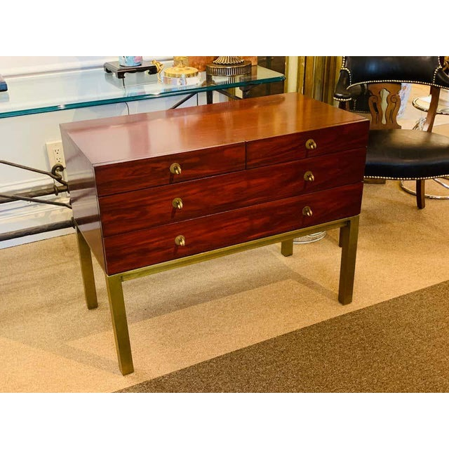 Henredon Modern Mahogany and Bronze Chest, by Henredon For Sale - Image 4 of 8