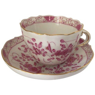 Mid-19th Century Meissen Indian Purple Porcelain Cup and Saucer - 2 Pieces