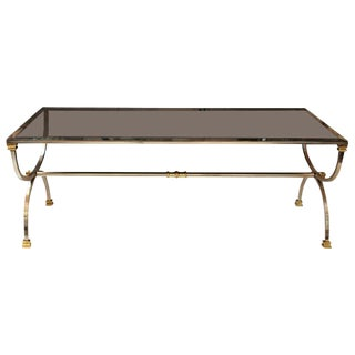 1960s Mid-Century Modern Beveled Mercury Mirrored Steel and Brass Coffee Table For Sale