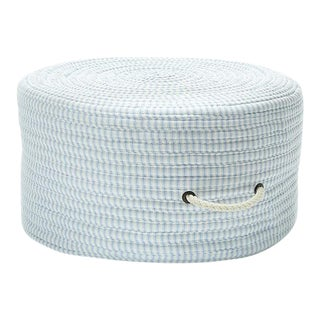 Ticking Fabric Blue Stripe Pouf