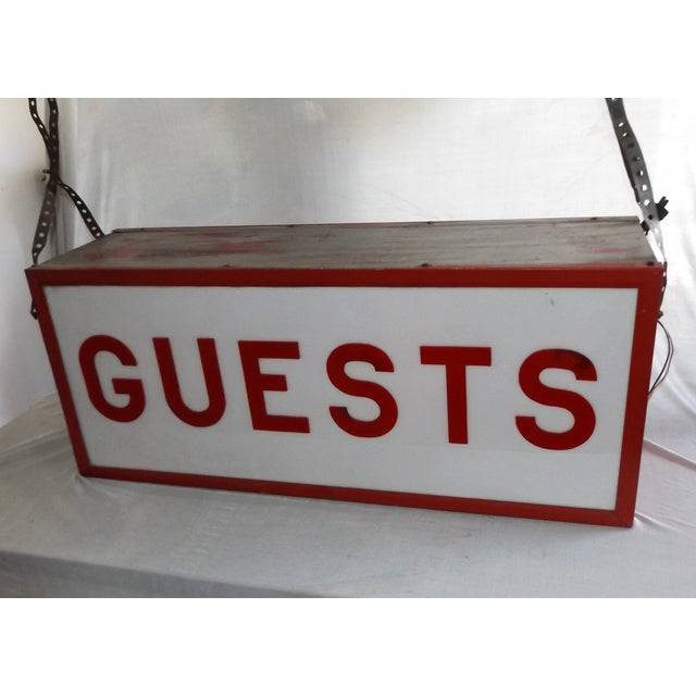 """Vintage Double-Sided Lit """"Guests"""" Sign - Image 2 of 10"""