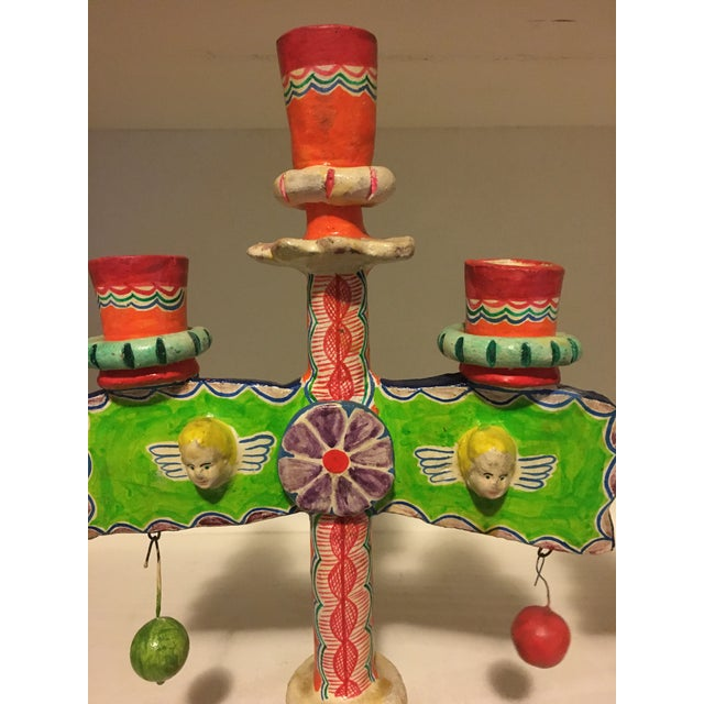 Artes Folklorico presents a vintage pair of folk art ceramic pottery candle holders or trees of life. Each candelabrum...
