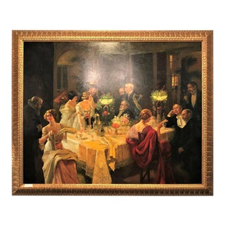 Monumental Print Painting Oil on Canvas of a Party Scene in a Great Gilt Frame For Sale