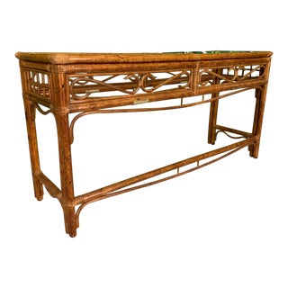Rattan and Brass Console Table For Sale