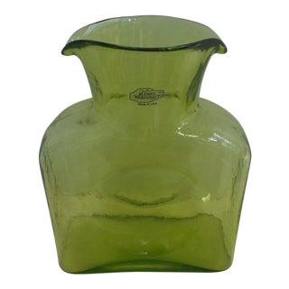 1970s Danish Modern Blenko Chartreuse Art Glass Pitcher