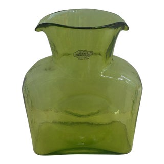 1970s Danish Modern Blenko Chartreuse Art Glass Pitcher For Sale