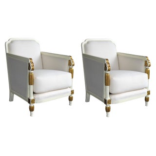 1930s Vintage French Art Deco Ivory Lacquered and Parcel-Gilt Club Chairs- A Pair For Sale