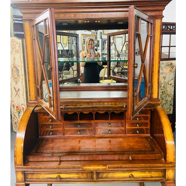 Traditional Vintage Regency Maitland Smith Flame Mahogany Burl Two Part Secretary Desk For Sale - Image 3 of 13