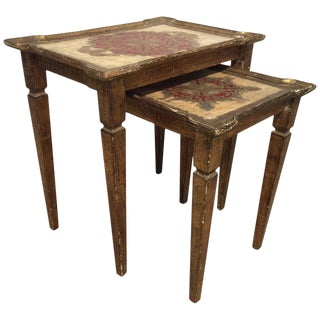 1900s Italian Gilt Nesting Tables - Set of 2 For Sale