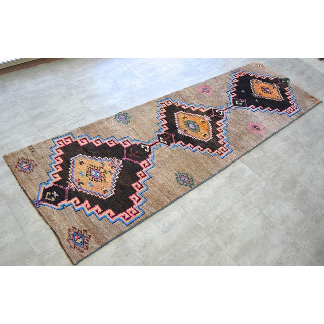 Islamic Hand Knotted Natural Colors Full Tribal Design Runner Rug Wide Runner - 3′6″ X 11′4″ For Sale - Image 3 of 11