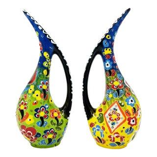 Turkish Handmade Floral Ceramic Pelican Vases - a Pair For Sale