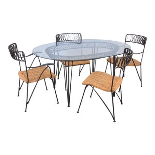 Salterini Woven Ribbon Chairs and Table Patio Set - 5 pieces For Sale