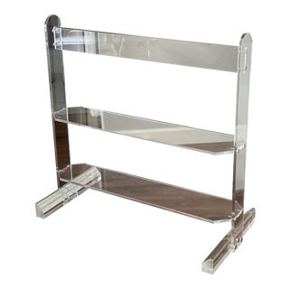 1980s Vintage Mid Century Modern Lucite Shelving Unit For Sale