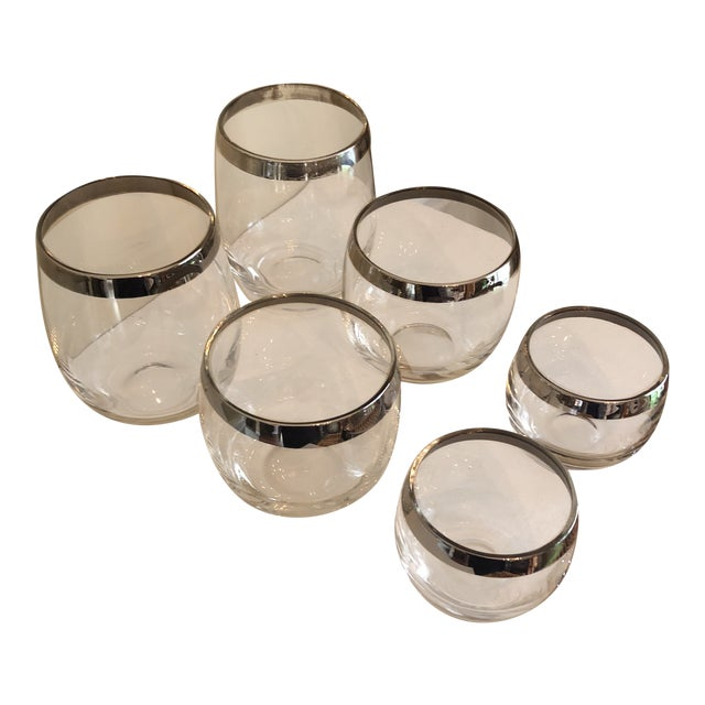 1970s Vintage Collection of Dorothy Thorpe Glasses Silver Rim- Set of 6 For Sale