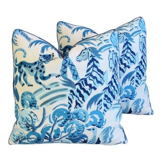 "P. Kaufmann Blue & White Wilderness Animal Feather/Down Pillows 21"" Square - Pair For Sale"