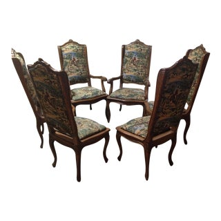 English Hunt Scene Tapestry Upholstered Dining Chairs - Set of 6