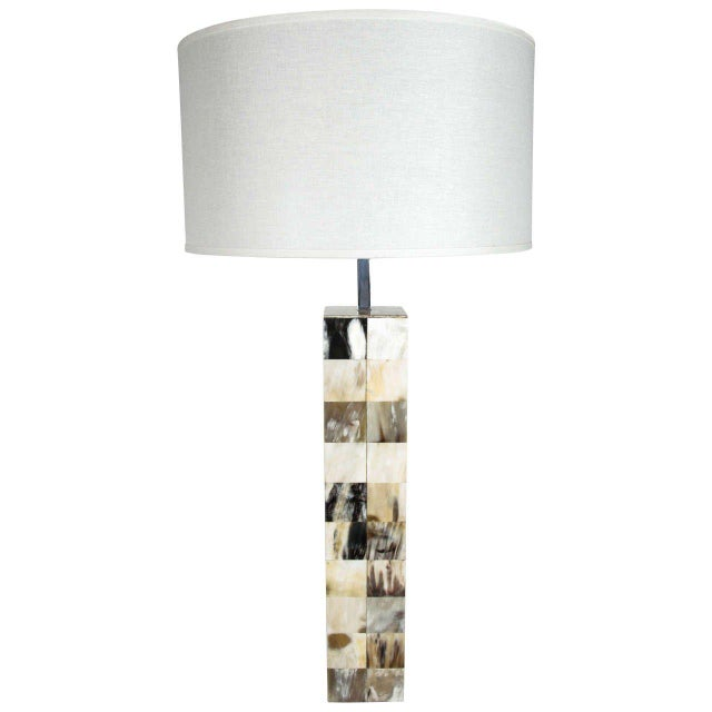 Tan Mosaic Genuine Horn Table Lamp For Sale - Image 8 of 8