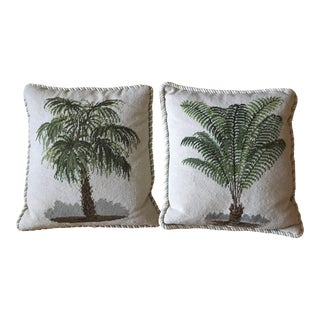 1990s Chelsea House Needlepoint Botanical Down Pillows - A Pair For Sale