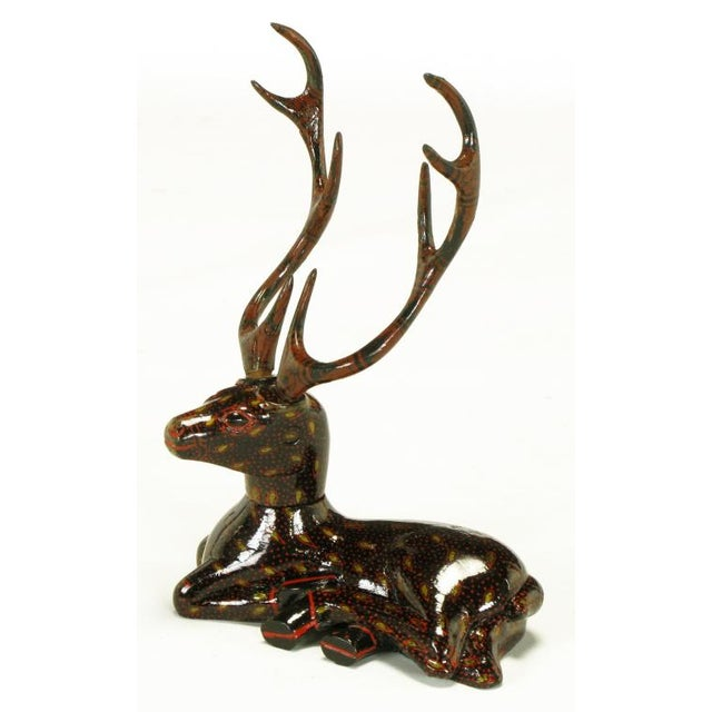 Orange Carved Wood Hand Lacquered Recumbent Deer For Sale - Image 8 of 8