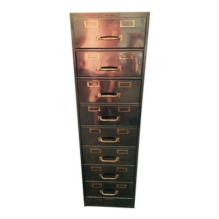 Vintage Polished Modern Metal Steelcase 8-Drawer File Cabinet For Sale