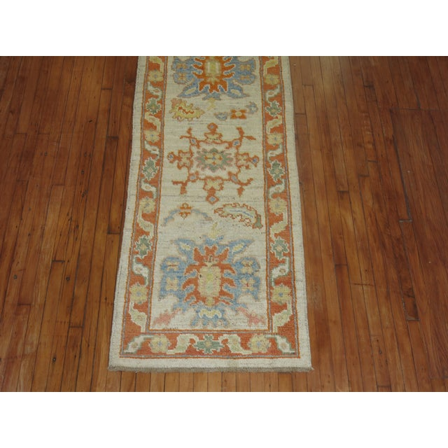 Vintage Turkish Oushak Runner - 2'9'' X 13'5'' - Image 4 of 6