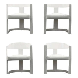 "Karl Springer ""Onassis"" Armchairs/Dining Chairs, Set of Four For Sale"