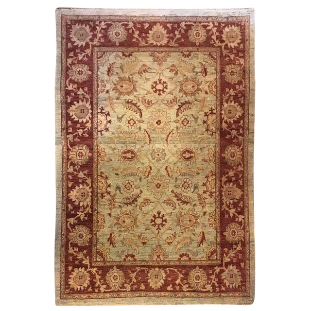Traditional Olive & Burgundy Rug - 4′9″ × 6′4″ - Image 1 of 4