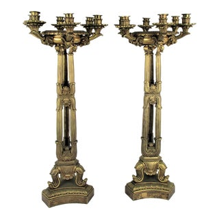 1920s Antique Brass Candlesticks - a Pair For Sale