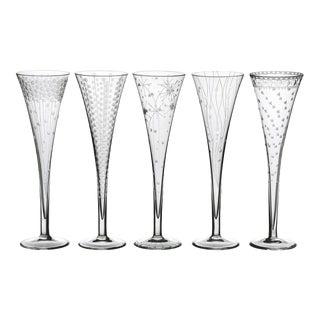 ARTEL Celebration Champagne Flute Assortment, Clear, Set of 5 For Sale