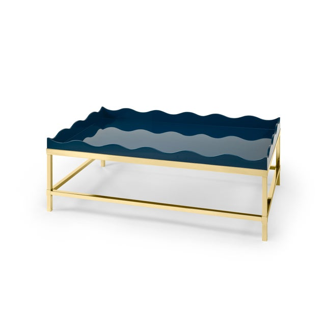 Contemporary Belles Rives Coffee Table Brass in Marine Blue - Rita Konig for The Lacquer Company For Sale - Image 3 of 3