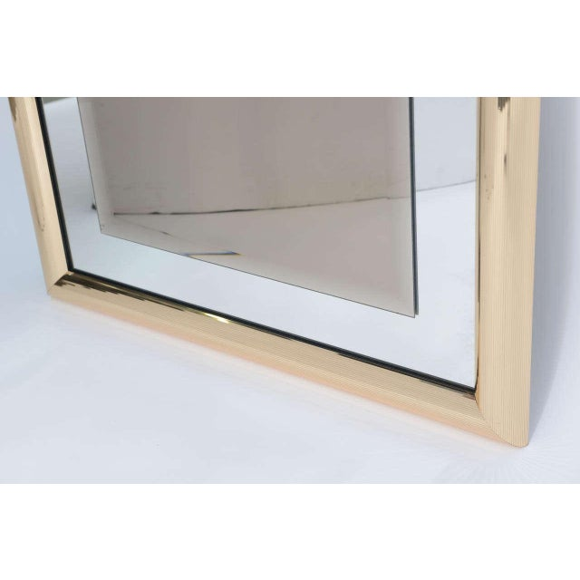 1970s Modern Faceted Brass Mirror With Center Bronze Mirror. - Image 7 of 8
